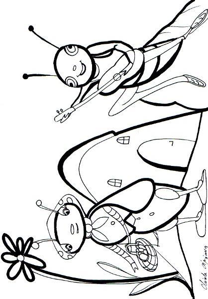 Planse De Colorat Greierele Si Furnica De Colorat P14