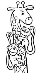 plansa de colorat animale girafe #8