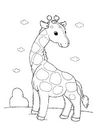 plansa de colorat animale girafe #13