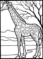 plansa de colorat animale girafe #22