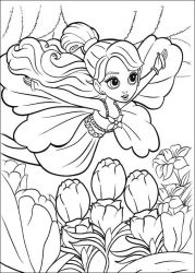 plansa de colorat barbie thumbelina #3