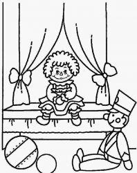 plansa de colorat raggedy ann and andy #2