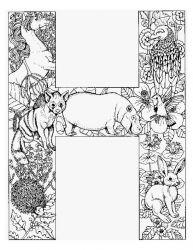 plansa de colorat alfabetul cu animale de colorat p08