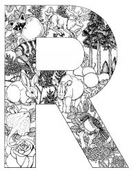 plansa de colorat alfabetul cu animale de colorat p18