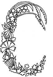 plansa de colorat alfabetul cu flori de colorat p03
