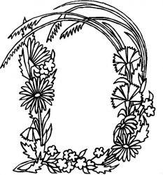 plansa de colorat alfabetul cu flori de colorat p04