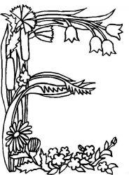plansa de colorat alfabetul cu flori de colorat p05