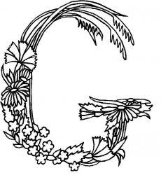 plansa de colorat alfabetul cu flori de colorat p07
