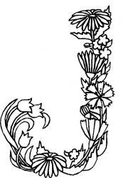 plansa de colorat alfabetul cu flori de colorat p10