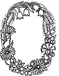 plansa de colorat alfabetul cu flori de colorat p15