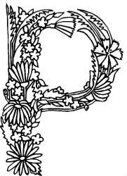 plansa de colorat alfabetul cu flori de colorat p16
