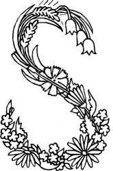 plansa de colorat alfabetul cu flori de colorat p19