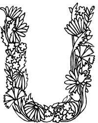 plansa de colorat alfabetul cu flori de colorat p21