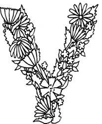plansa de colorat alfabetul cu flori de colorat p25