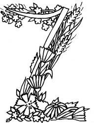 plansa de colorat alfabetul cu flori de colorat p26
