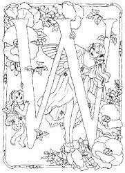 plansa de colorat alfabetul cu zane de colorat p22