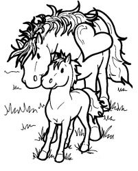 plansa de colorat animale cai de colorat p07