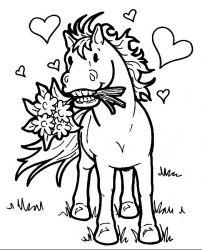 plansa de colorat animale cai de colorat p13