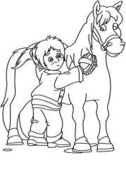 plansa de colorat animale cai de colorat p68