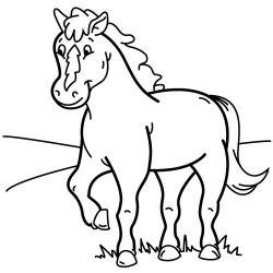plansa de colorat animale cai de colorat p71