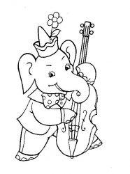 plansa de colorat animale elefanti de colorat p06