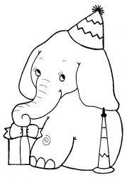 plansa de colorat animale elefanti de colorat p47