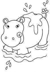 plansa de colorat animale hipopotami de colorat p05
