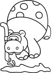 plansa de colorat animale hipopotami de colorat p07