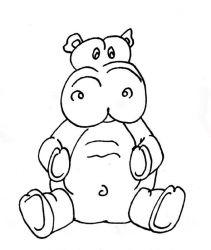 plansa de colorat animale hipopotami de colorat p10