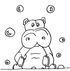 plansa de colorat animale hipopotami de colorat p12