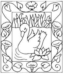 plansa de colorat animale lebede de colorat p06
