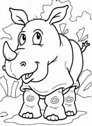 plansa de colorat animale rinoceri de colorat p03