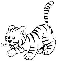 plansa de colorat animale tigri de colorat p34