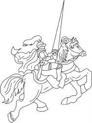 plansa de colorat cavaleri de colorat p09