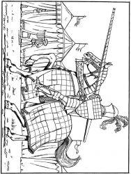 plansa de colorat cavaleri de colorat p40