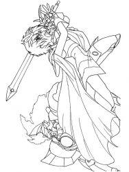 plansa de colorat cavalerul magic rayearth de colorat p24