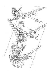plansa de colorat cavalerul magic rayearth de colorat p27