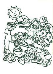 plansa de colorat charlotta cu capsuni de colorat p23