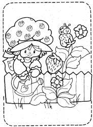 plansa de colorat charlotta cu capsuni de colorat p37