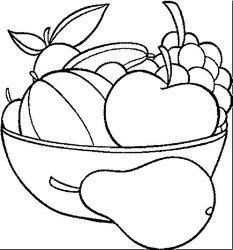 plansa de colorat cos cu fructe de colorat p03