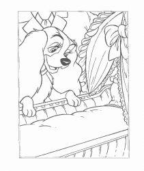 plansa de colorat doamna si vagabondul de colorat p15