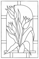 plansa de colorat flori lalele de colorat p08
