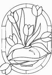 plansa de colorat flori lalele de colorat p14