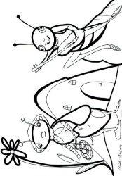 plansa de colorat greierele si furnica de colorat p14