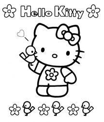 plansa de colorat hello kitty de colorat p24