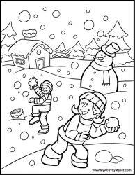 plansa de colorat iarna de colorat p22