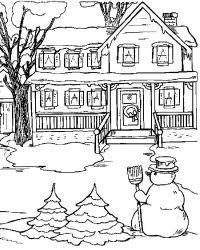 plansa de colorat iarna de colorat p35