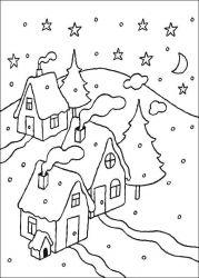 plansa de colorat iarna de colorat p57