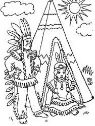 plansa de colorat indieni de colorat p04