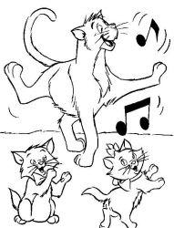 plansa de colorat pisicile aristocrate de colorat p03